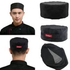 Kitchen Hats Pink Rug 3pcs Mesh Top Skull Cap Pro Catering Chefs Hat Breathable With Adjustable Strap Black