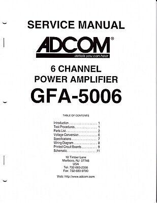 Original Adcom GFA-5006 Power Amp Service Manual w Board