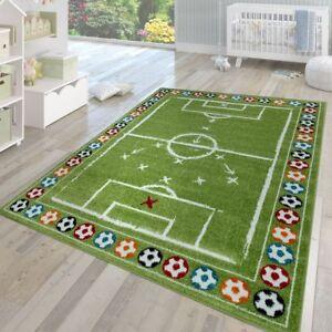 details sur chambre enfant tapis poils ras moderne multicolore motif vert terrain de foot