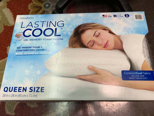 novaform lasting cool gel memory foam pillow 18in x 28in queen size new