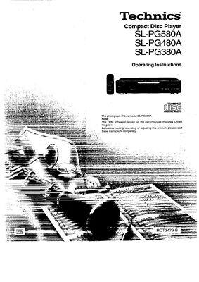 Technics SL-PG380A SL-PG480A SL-PG580A CD Player Owners