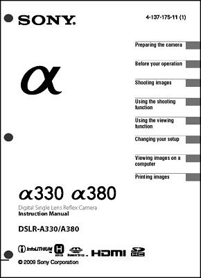 Sony DSLR Alpha A330 A380 Digital Camera User Guide
