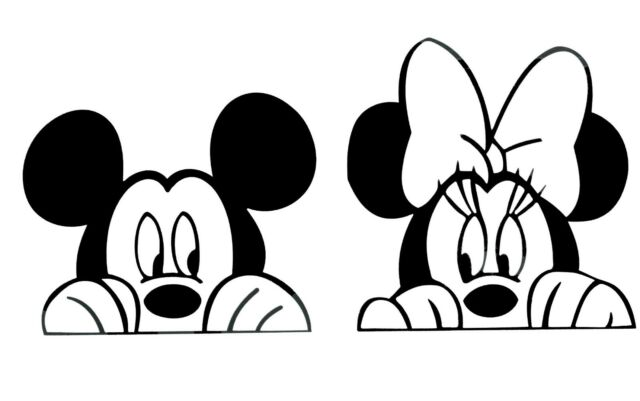 Peeking Mickey and Minnie Mouse Set Disney Vinyl Decal Car