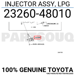 2326048010 Genuine Toyota INJECTOR ASSY, LPG 23260-48010