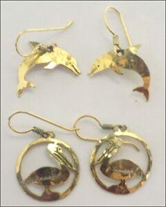 Wild Bryde Earrings : bryde, earrings, Bryde, Hammered, Goldtone, Dangle, Earrings, DOLPHINS, PELICANS