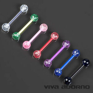 1,6 x 16 mm Zungen Piercing Glitter Glitzer Bioflex Barbell Hantel Brust Z314