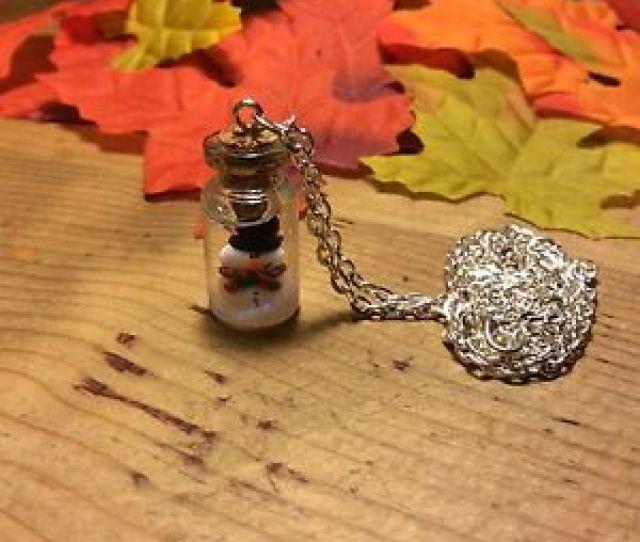 Image Is Loading Necklace Snow Globe Snowman Bottle Glitter Christmas Xmas