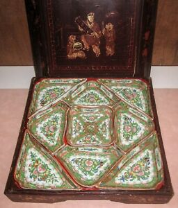 Antique Chinese Porcelain Rose Medallion Sweetmeat Sectioned Dishes in Wood Box