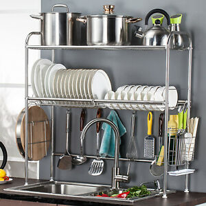 details about 2 tier over sink stainless steel dish drainer rack tray kitchen utensils holder