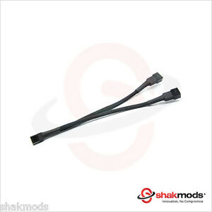 Shakmods 3 pin Fan Y Splitter 20cm Black Sleeved Extension