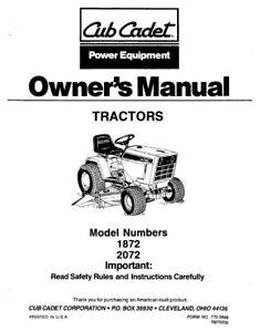 CUB CADET TRACTOR OWNERS MANUAL MODEL NO 1872 2072