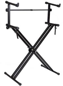 Pro Adjustable Double 2-Tier X Style Dual Electronic Piano