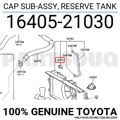 1640521030 Genuine Toyota CAP SUB-ASSY, RESERVE TANK 16405