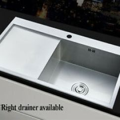 Large Sink Kitchen New Cost Square 1 0 Bowl Stainless Steel Lh Rh Drainer Image Is Loading