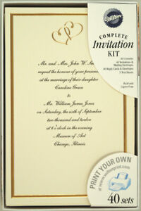 Details About 120 Wilton Ivory Wedding Invitation Kits Sweet Hearts Gold Print Your Own New