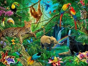 This list of endangered rainforest animals will really shock you. Exotic Flowers Jungle Animals Birds Toucan Tigers Ceramic Tile Mural Backsplash Ebay