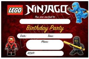 details about 1 x lego ninjago childrens boys blank diy birthday invitations free magnets