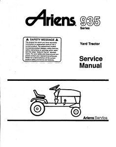 Ariens 935 Garden Tractors SERVICE REPAIR OVERHAUL MANUAL