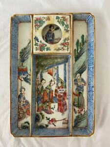 rare chinese antique porcelain plate tray dish bowl vase scholar art Qing dynast