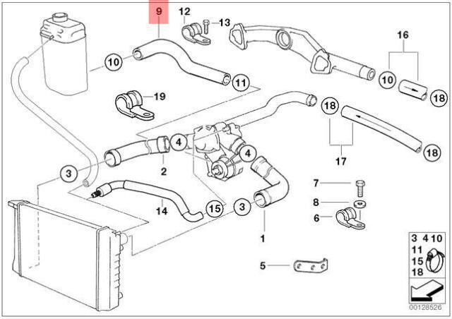 Genuine BMW E31 E38 Coupe Sedan Cooling System Water Hose