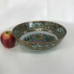 Antique Chinese Porcelain Rose Medallion Bowl W/ Butterfly Decoration