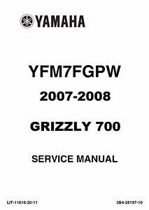 Yamaha 2007 2008 ATV Grizzly 700 700FI YFM repair shop