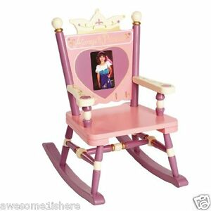little girl chairs folding bar uk wooden rocking chair for kids pink hand painted princess details about royalty new