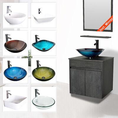 24 bathroom vanity sink combo wall mounted concrete grey cabinet vanity set
