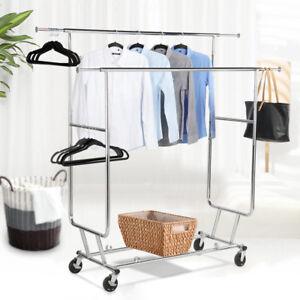 details about rolling adjustable clothes rack double bar rail garment garment rack heavy duty