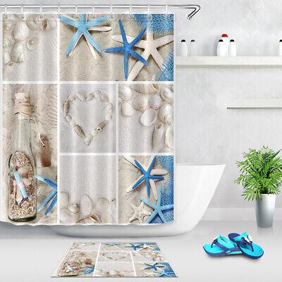 summer seashells beach shower curtain set fabric bathroom curtains 180 180cm ebay