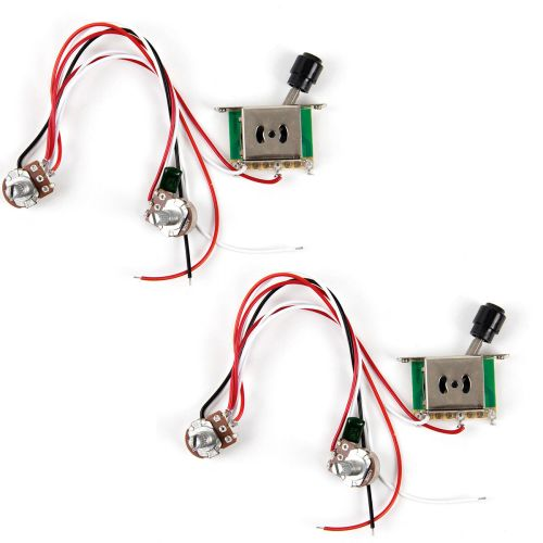 small resolution of 2pcs prewired guitar wiring harness 250k pots 3 way switch for tele parts