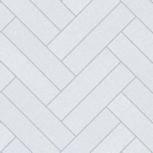 Hightex White Grey Parquet Tile Thick Vinyl Flooring