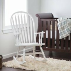 White Indoor Rocking Chair Officemax Manager Wooden Baby Nursery Living Room Rocker Image Is Loading