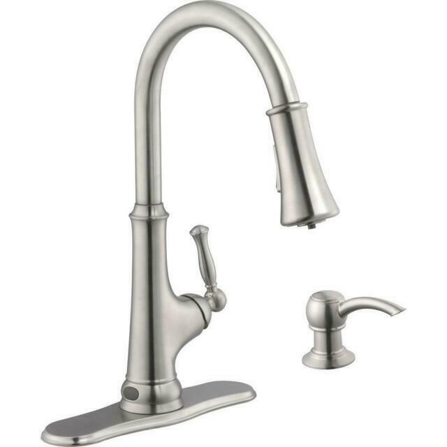 glacier bay touchless led single handle pull down sprayer kitchen faucet stainless steel