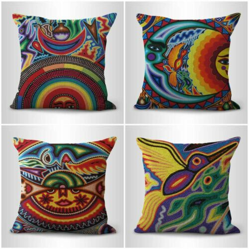 set of 4 folk art indigenous mexican cushion covers throw pillow case