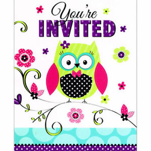 Details About Owl Invitations For Birthday Or Baby Shower 8 Count