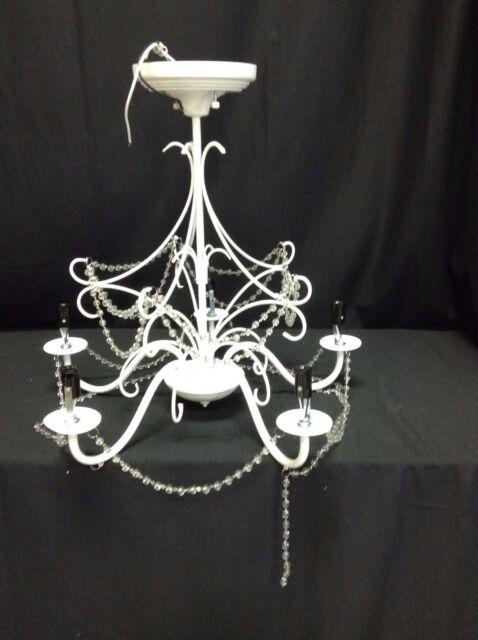 pottery barn kids mia crystal bead flushmount white chandelier light fixture