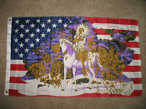 3x5 USA United States Indian Horse Snow Flag 339x539 Banner