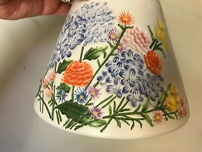 2 Piece Yankee Candle Large Shade/Topper and Plate Summer Flowers EUC   eBay