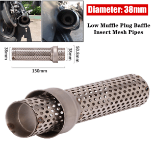 details about 38mm stainless steel motorcycle exhaust low muffle plug baffle insert mesh pipes