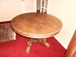 details sur ancienne table ronde en chene massif diametre 100cm avec rallonges possible