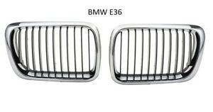 Front Grille PAIR 1997-1998 BMW 3-Series E36 Chrome/Black