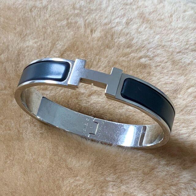 Mens HERMES Clic HH Bracelet Narrow Black Matte Enamel Palladium Plated | eBay