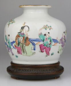 Antique Chinese Famille Rose Porcelain Vase Marked Wood Stand 19th C. Qing