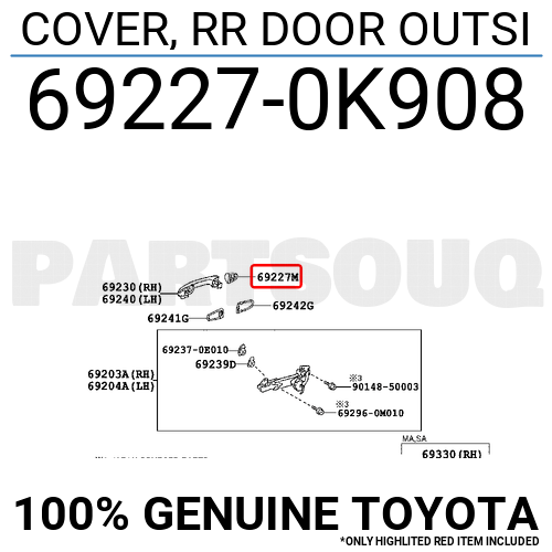692270K908 Genuine Toyota COVER, RR DOOR OUTSI 69227-0K908