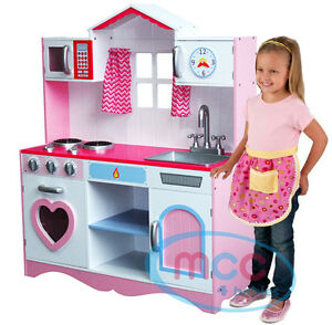 childrens play kitchens kitchen cleaning check list mcc large girls kids pink wooden children s image is loading
