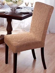 stretch dining chair covers sport brella recliner beige cover on sale velvet damask avail in image is loading 034