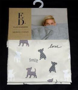 details about ellen degeneres smile love polka dots stripes dog fabric shower curtain nwt disc