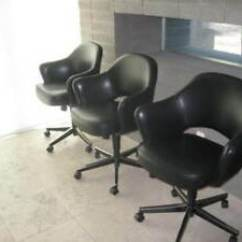 Swivel Arm Chairs Nursery Rocking Chair Cushion Covers Knoll Saarinen Executive Blk Saddle Leather Image Is Loading