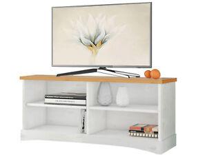 details sur meuble tele lowboard table de television tv 100x40x45 cm blanc pin massif maison
